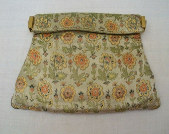 Vintage Brocade Rhinestone Clutch - Purse