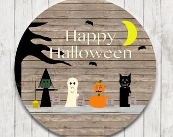 "Halloween decor, wooden sign, trick or treat sign, trick or treaters, wooden plaque, rustic decor, primitive decor, Halloween art, 18"" sign"