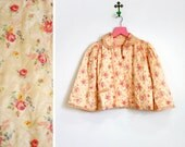 Vintage 1940s-50s Peach Floral Quilted Bed Jacket