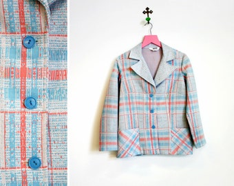 Vintage 1970s Montgomery Ward Pink and Blue Plaid Polyester Womens Blazer Size M
