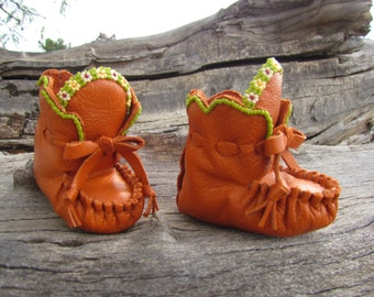 """Newborn Moccasins By Desi, Beaded, 3"""" long, Soft Burnt Orange Leather, Girl, Baby Boots, Shoes, Tribal, Thanksgiving outfit, Winter Wear"""