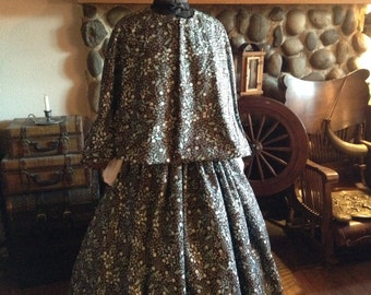 Civil War Womens Prairie Pioneer Civil War Colonial Turquoise And Brown Skirt with Sash Blouse and Print Cape 4 piece set Ready to ship