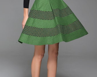 Mini skirt, wool skirt, green skirt, houndstooth skirt, skater skirt, A line skirt, cute skirt, skirt for women, gift for girlfriend 1433