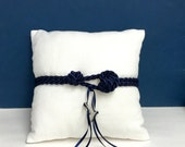 Beach Wedding White Linen Ring Bearer Pillow with Navy Nautical Cording and Ribbons for Rings - Nautical Wedding/Beach Wedding
