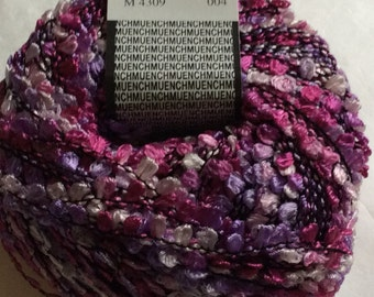 Muench Fabu Rayon Boucle Ribbon Yarn - #4309 Pinks, Purples, Off-White on Black