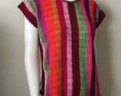 Vintage Women's 70's Boho, Poncho Top, Striped Colorful, Acrylic, Sleeveless (M/L)