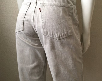 Vintage Women's 80's Tan, Levi's 551, Jeans, High Waisted, Relaxed Fit, Denim (L)