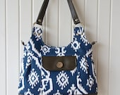 Iris Convertible Bag in Navy Blue Ikat with chocolate brown faux leather