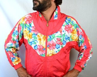 Vintage 80s 90s Floral Lavon Pink Jacket Windbreaker