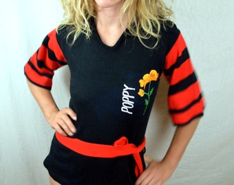 Cute Vintage Kitsch Poppy Embroidered Belted Sweater - Kelly Knits