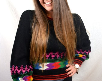 Cute Vintage 80s Umi Collections - Anne Crimmins Rainbow Sweater