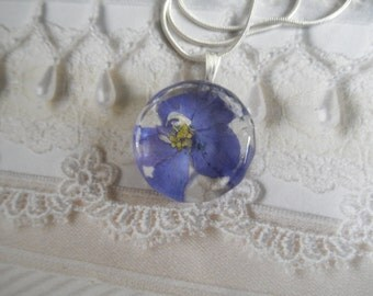 Blue-Purple Larkspur Pressed Flower Faceted Edged Jeweler's Crystal Glass Pendant-Symbol Of An Open Heart-July's Birth Flower-Gifts Under 30