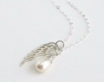 Sterling Silver Angel Wing Necklace / Miscarriage Necklace June Birthstone Pearl / Angel Baby Jewelry / Baby Loss Necklace / Condolence Gift