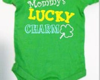 St. Patrick's day Baby one piece, Baby Irish tee, Mommy's lucky charm, Daddy's lucky charm, Baby shamrock shirt, baby shower gift