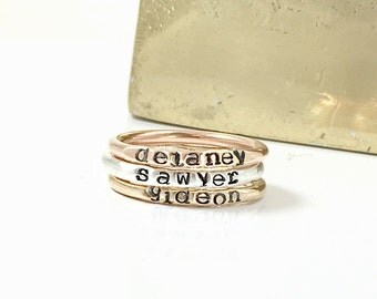 Stacking Name ring SET of 3, Rose Gold Filled, Yellow Gold Filled, and Silver Stacking Name Rings, Mixed Metals Name Rings, Personalized