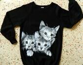 Cats three 1980s vintage sweatshirt dress - black size medium