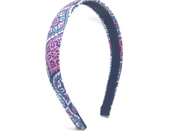 Floral Headband - Navy, Gray, White, Pink & Salmon Headband - Big Girl Headband, Teen Headband, Adult Headband - Preppy Colorful Comfortable