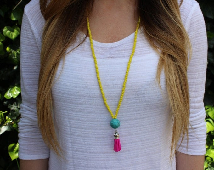Neon Yellow, Turquoise and Pink Tassel Necklace.