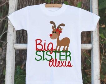 Christmas Big Sister Shirt - Holiday Big Sister Onepiece or Tshirt - Kids Reindeer Shirt for Girls - Big Sister Little Sister T-shirts