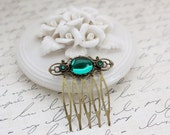 SALE Emerald Teal Small Hair Comb in Antique Brass