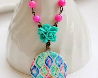 Pink and Turquoise Locket Necklace