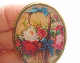 Rose Flowers Basket Jewelry Brooch KL Design