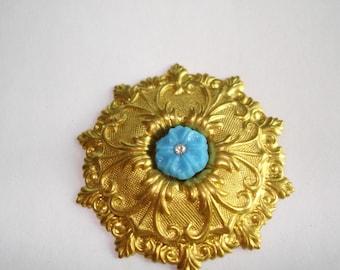 Blue  Flower Clear Rhinestone Brooch