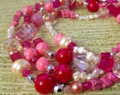 25% off sale - Necklace - Beaded - Candy Inspired - Pinks and Pearls