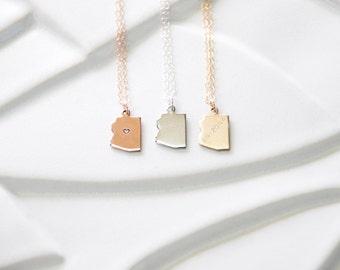 Arizona State Charm Necklace, Gold Arizona Necklace, Heart State Necklace, Silver Arizona Jewelry, Arizona State Silver, Arizona Bracelet