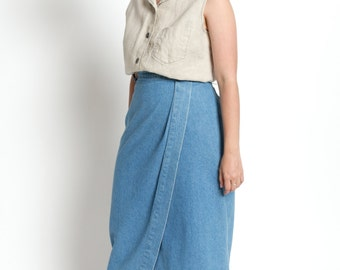 Vintage 60s Natural Linen Button Up Sleeveless Top | M