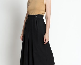 Vintage 80s Black Wool High Waist Pleated Full Midi Skirt | 4