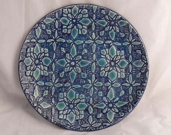 Blue green, Ceramic Plate with Decorative Texture