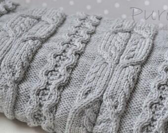 Blanket PDF knitting pattern 'Skye' Cabled Blanket