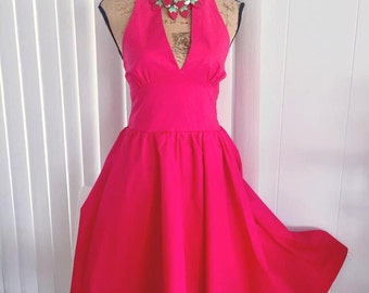 Vintage 50's style red cotton poplin halter dress -- Pinup -- Rockabilly Size M