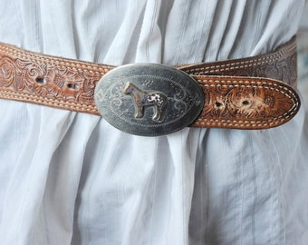 Vintage Ricardo Belt Buckle, Ricardo Nickel Silver Bronze Trim Belt Buckle, Ladies Belt Buckle, Ladies Genuine Cowhide size 30 Belt