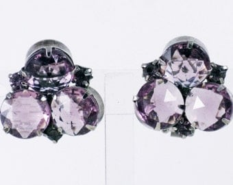 Vintage Amethyst Rose Cut Glass and Rhinestone Clip Earrings (E-1-6)