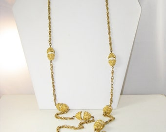 Vintage Very Long Gold Tone White Bead Necklace (N-3-4)