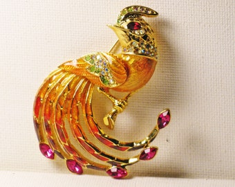 Vintage Large R. J. Graziano Crystal Rhinestone and Enamel Bird of Paradise Brooch Pin (B-3-7)
