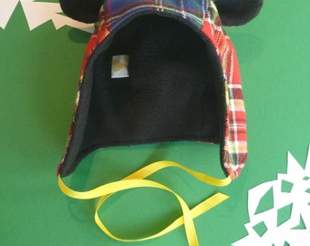 Multiple Plaids Fabric Winter Bear Hat- Toddler, Kids, and Adult Sizes!