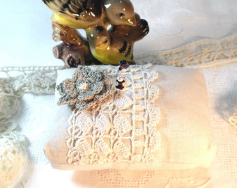 Pincushion, Linen with Vintage Crochet and Crochet Flower, Ready To Ship