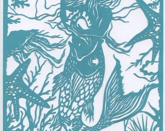 Fishtail Mermaid Paper Cut