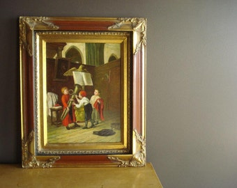 Fooling Around - Vintage Framed Oil Painting -W. Berger - Choirboys in Church with Instruments