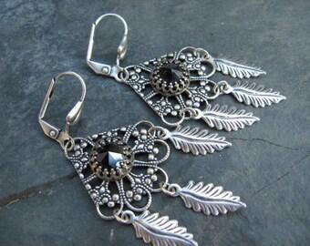 Jet Black Swarovski Earrings - E356