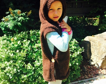 Child Hooded Poncho Ready To Ship, Poncho Size 4-5, Knit Wool Poncho, Poncho With Buttons, Toddler Poncho, Child Poncho