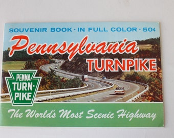 Vintage Pennsylvania Turnpike Souvenir Book Color Photos Scenic Highway Penna Turnpike 1950s