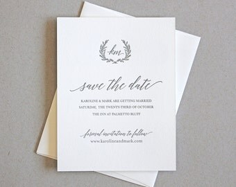 Letterpress Save the Date- Jardin Letterpress Save the Date- Monogram, Calligraphy,Traditional, Elegant, Simple, Classic, Custom, Formal