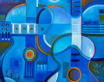 Cubist Abstract Oil painting Original artwork Blue Guitars by Marlina Vera Fine Art Gallery  sale Modernism Contemporary Sale
