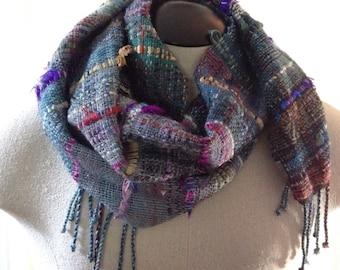 Handwoven Merino Wool & Recycled Sari Silk Ribbon Saori Style Scarf // multicolor / fall / autumn / winter / spring / boho / blue / black