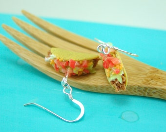 Food Earrings Taco Earrings MADE TO ORDER Fast Food Jewelry Dangly Earrings