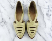 Rare NIKE Tensile Air I.E. Leather Sandals Cut Out Yellow Beige Pointed Slip On Shoes Size 7.5 Brazil